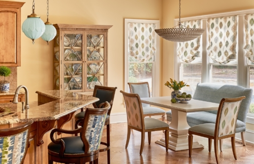 Photo of a Raleigh breakfast nook interior design.
