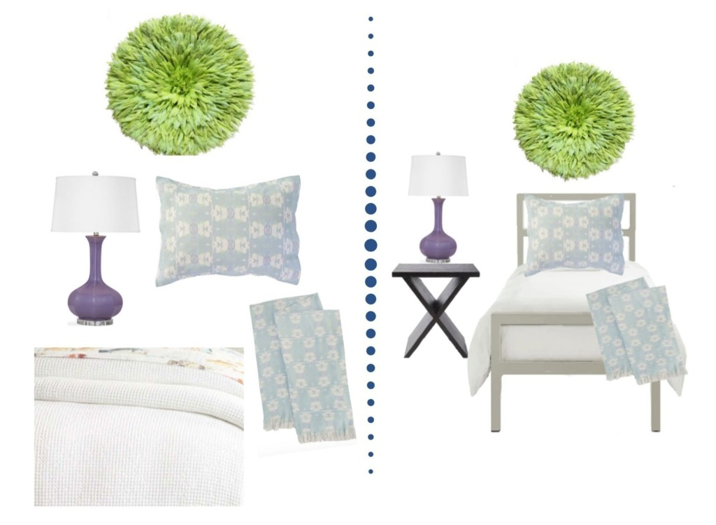 Collage image showing the design options of the Adrienne Designer Dorm Room package.