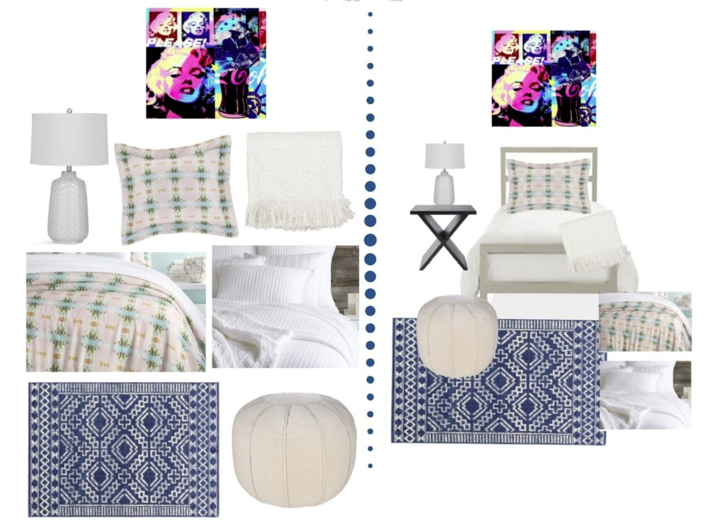 Collage image showing the design options of the Maddie Designer Dorm Room package.