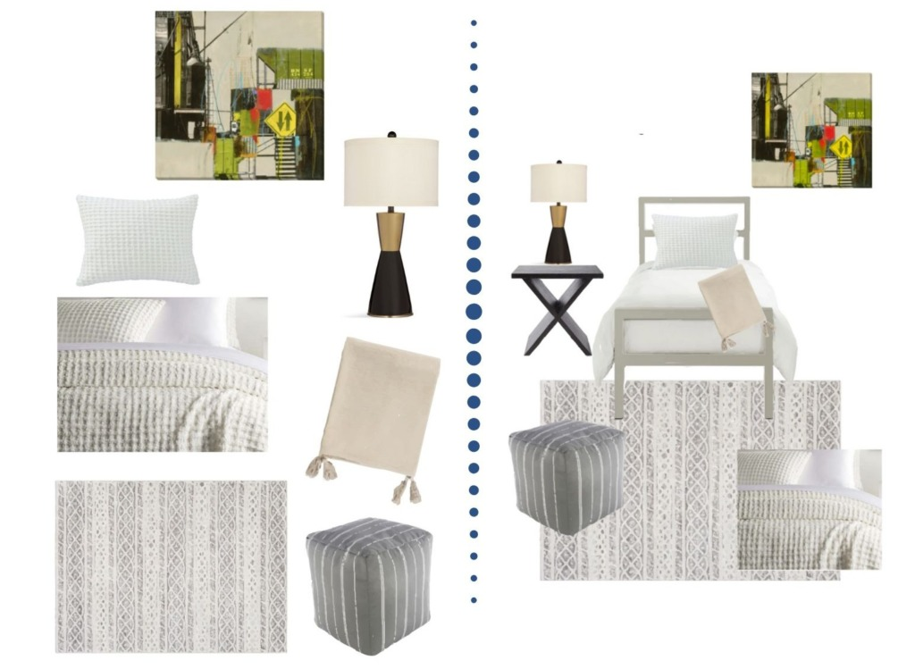 Collage image showing the design options of the Page Designer Dorm Room package.