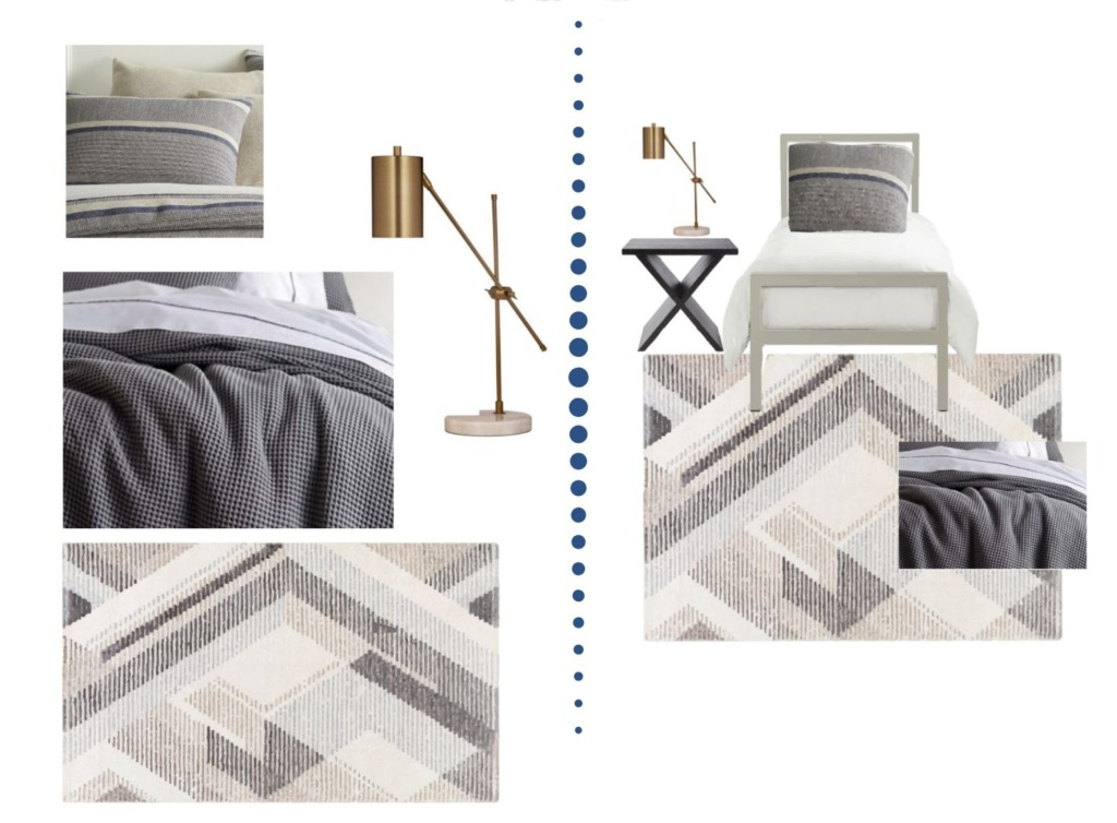 Collage image showing the design options of the Parker Designer Dorm Room package.