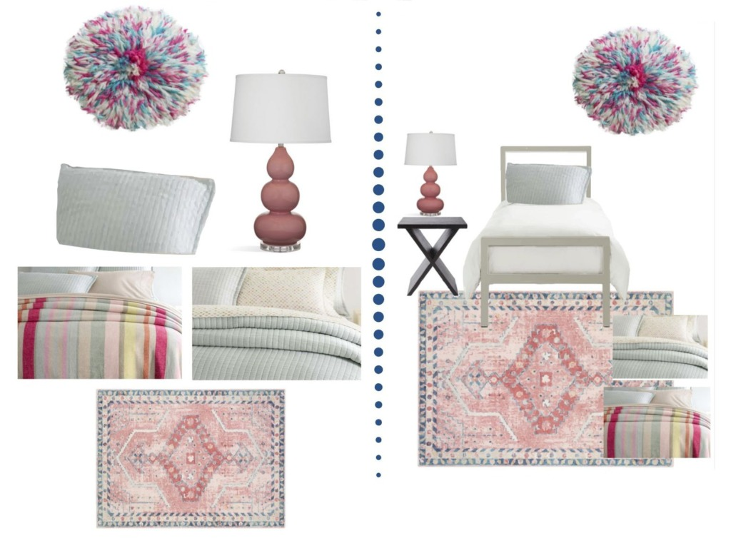Collage image showing the design options of the Susan Designer Dorm Room package.